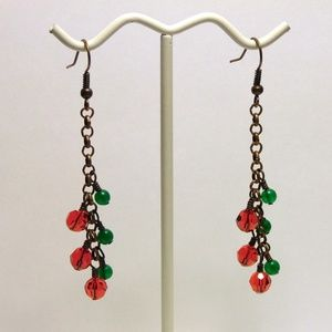 Copper Christmas Crystal Earrings